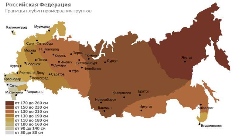 карта глубин промерзания грунтов